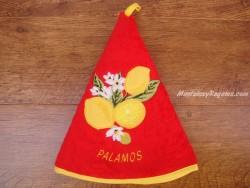 Paño redondo de cocina - Modelo LIMONES PALAMÓS - Rojo