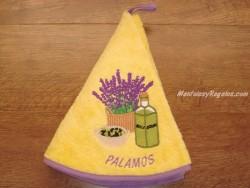 Paño redondo de cocina - Modelo BOTELLA DE ACEITE PALAMÓS - Amarillo