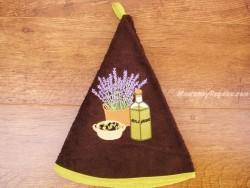 Paño redondo de cocina - Modelo BOTELLA DE ACEITE - Chocolate