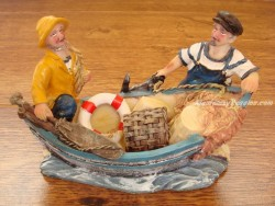 Barca decoración - Modelo PESCADORES Y ANCLA - 12 cm.