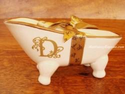 Jabonera de cerámica letra D
