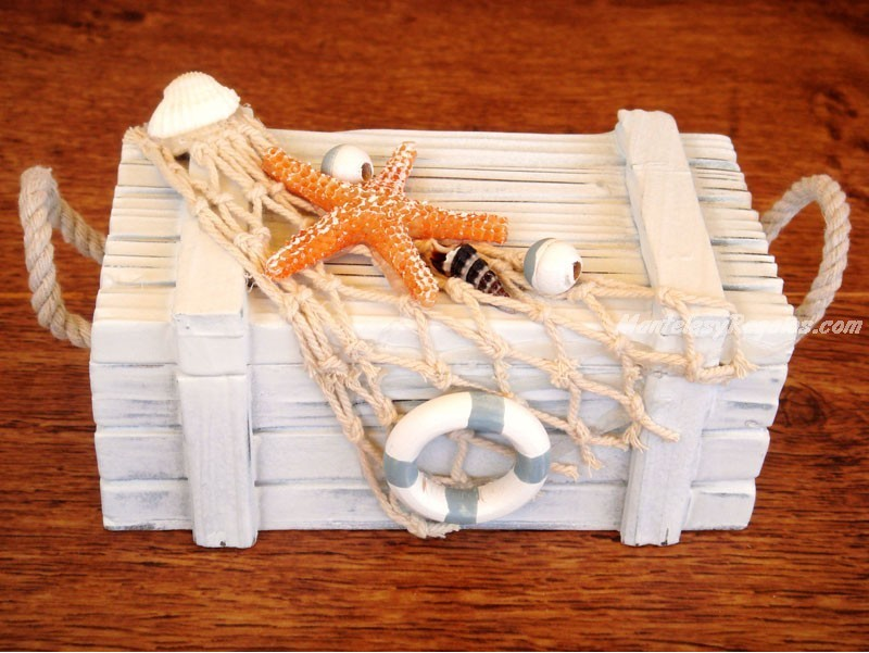 Caja decorativa marinera 18 cm - Redes de pesca decorativas ...
