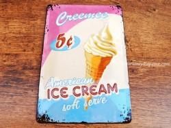 Placa metálica AMERICAN ICE CREAM - 20 x 30 cm. (Nostalgic Art)