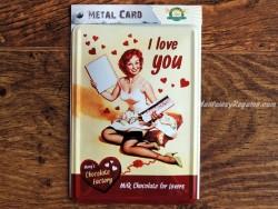 Postal metálica I LOVE YOU CHOCOLATE FACTORY (Nostalgic-Art)