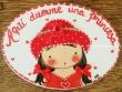 Placa para puerta niña vestido rojo (Aquí duerme una Princesa)