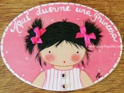 Placa para puerta niña vestido rayas (Aquí duerme una Princesa)