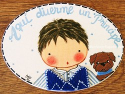 Placa para puerta niño con perro (Aquí duerme un Principe)