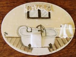 Placa para puerta bañera fondo beige
