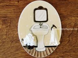 Placa para puerta baño fondo beige