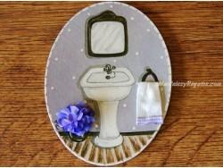 Placa para puerta baño fondo morado
