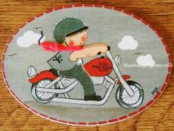 Placa infantil para puerta niño con Harley Davidson
