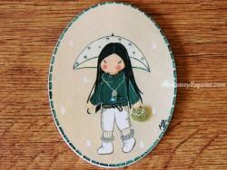 Placa infantil para puerta modelo niña con paraguas