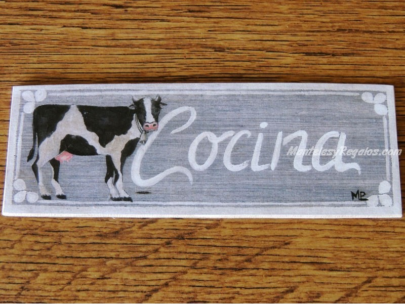 Placa para puerta cocina vaca - Placa de cocina ...