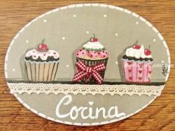 Placa para puerta cocina cupcakes (Cocina)