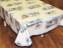 Mantel algodón plastificado - Modelo CABINAS PLAYA - Azul
