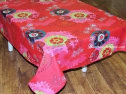 Mantel algodón plastificado - Modelo MANDALA - Rojo