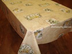 Mantel de Algodón Plastificado - Modelo PATCH OLIVES - Crema