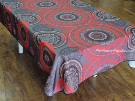 Mantel Antimanchas - Modelo MANDALA - Rojo
