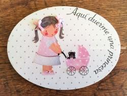 Placa para puerta niña con carrito (Aquí duerme una Princesa)