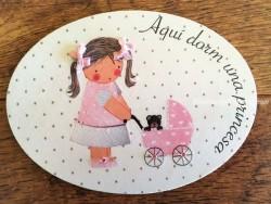 Placa para puerta niña con carrito (Aquí dorm una Princesa)