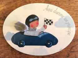 Placa para puerta niño con coche (Aquí duerme un Príncipe)