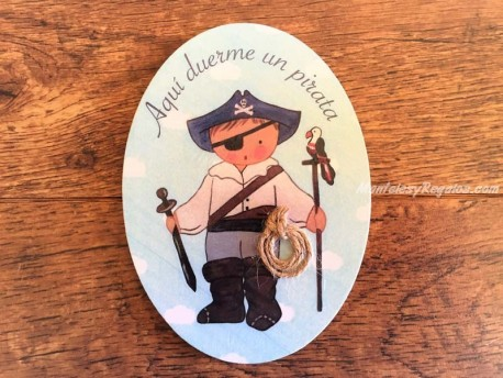 Placa para puerta niño con espada (Aquí duerme un Pirata)