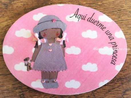 Placa para puerta niña con osito (Aquí duerme una Princesa)