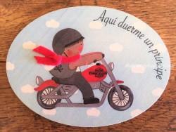 Placa para puerta niño con moto Harley (Aquí duerme un Príncipe)