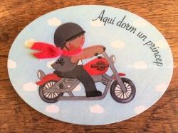 Placa para puerta niño con moto Harley (Aquí dorm un Príncep)