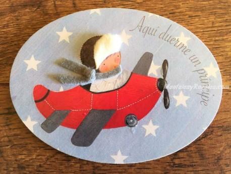 Placa para puerta niño con avioneta (Aquí duerme un Príncipe)