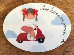 Placa para puerta niña con moto (Aquí duerme una Princesa)