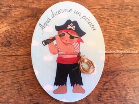 Placa para puerta niño con catalejo (Aquí duerme un Pirata)