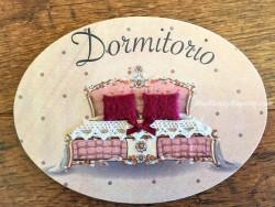 Placa de dormitorio con cama cabecero rosa (con texto DORMITORIO)