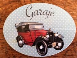 Placa para Garaje modelo Coche rojo antiguo (con texto GARAJE)