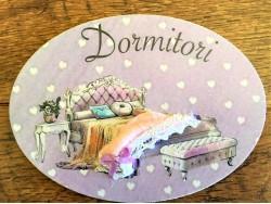 Placa de dormitorio con cama y banqueta (con texto DORMITORI)