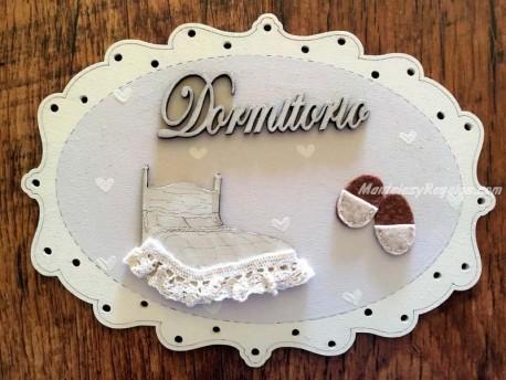Placa de puerta para dormitorio - 20 cm. (con texto DORMITORIO)