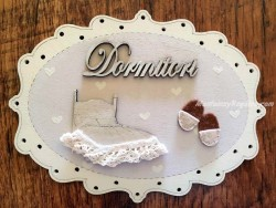 Placa de puerta para dormitorio - 20 cm. (con texto DORMITORI)