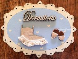 Placa puerta Dormitorio fondo azul - 20 cm. (con texto DORMITORIO)