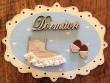 Placa puerta Dormitorio fondo azul - 20 cm. (con texto DORMITORI)