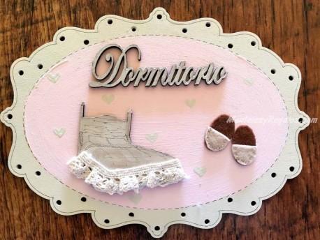 Placa puerta Dormitorio fondo rosa - 20 cm. (con texto DORMITORIO)