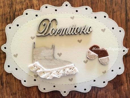 Placa puerta Dormitorio fondo blanco - 20 cm. (con texto DORMITORIO)