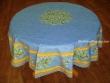 Mantel de Algodón Plastificado - Modelo CLOS DES OLIVIERS - Azul (Redondo 1,80 mt.)