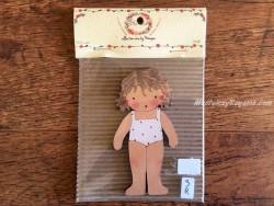 Muñeca recortable madera y vestido 10 cm. bañador blanco