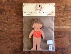 Muñeca recortable madera y vestido 10 cm. bañador naranja