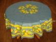 Mantel de Algodón Plastificado - Modelo CITRON - Azul (Redondo 1,80 mt.)