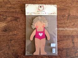 Muñeca recortable madera y vestido 15 cm. bañador fucsia