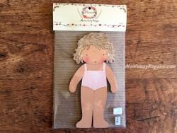 Muñeca recortable madera y vestido 20 cm. bañador rosa