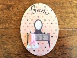 Placa para baño con fondo de corazones (con texto BAÑO)