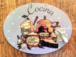 Placa de cocina con pasteles y café (con texto COCINA)