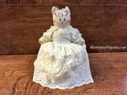 Porta-rollos papel wc modelo gato color crema